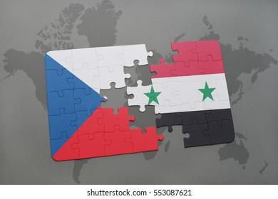 puzzle with the national flag of czech republic and syria on a world map background. 3D illustration