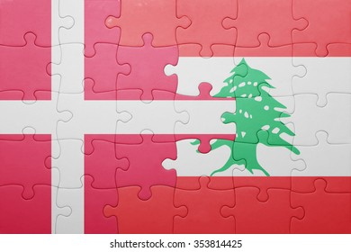 puzzle with the national flag of denmark and lebanon . concept