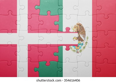 puzzle with the national flag of denmark and mexico . concept