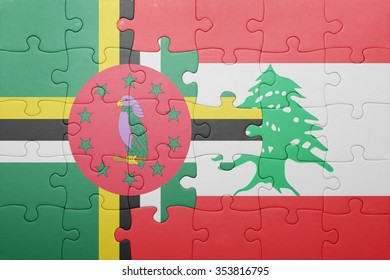 puzzle with the national flag of dominica and lebanon . concept