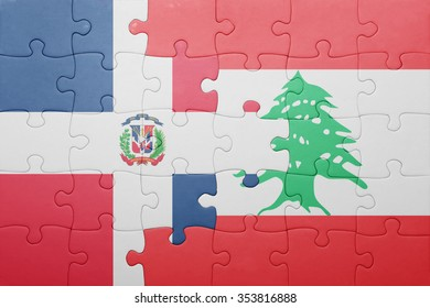 puzzle with the national flag of dominican republic and lebanon . concept