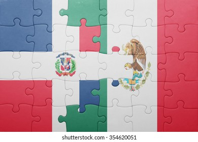 puzzle with the national flag of dominican republic and mexico . concept