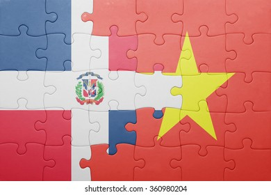 puzzle with the national flag of dominican republic and vietnam . concept