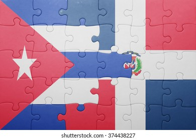 puzzle with the national flag of dominican republic and cuba .concept