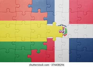 puzzle with the national flag of dominican republic and bolivia .concept