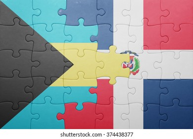 puzzle with the national flag of dominican republic and bahamas .concept