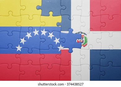 puzzle with the national flag of dominican republic and venezuela .concept