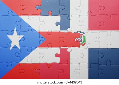 puzzle with the national flag of dominican republic and puerto rico .concept