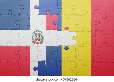 puzzle with the national flag of dominican republic and romania . concept