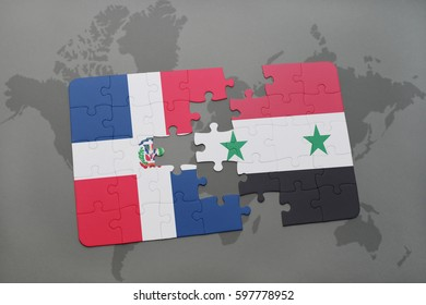 puzzle with the national flag of dominican republic and syria on a world map background. 3D illustration