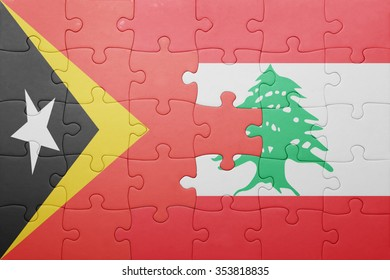 puzzle with the national flag of east timor and lebanon . concept