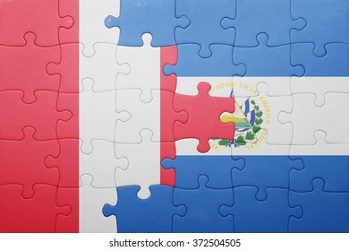 puzzle with the national flag of el salvador and peru . concept