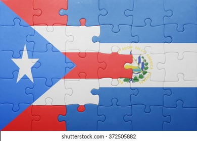 puzzle with the national flag of el salvador and puerto rico . concept