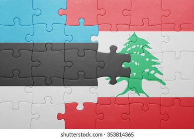 puzzle with the national flag of estonia and lebanon . concept