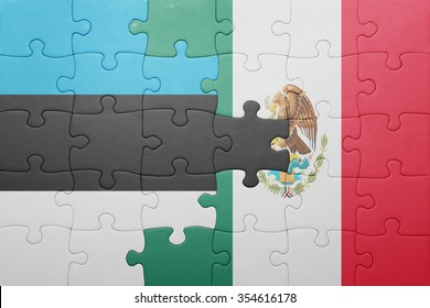puzzle with the national flag of estonia and mexico . concept