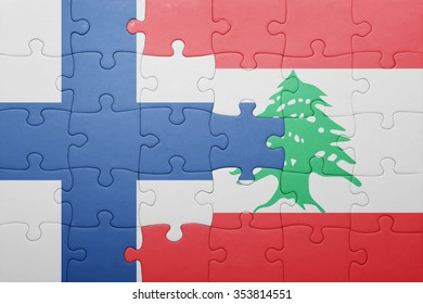 puzzle with the national flag of finland and lebanon . concept