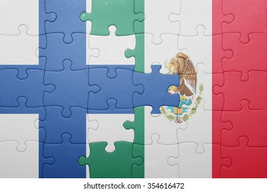 puzzle with the national flag of finland and mexico . concept