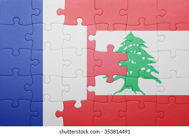 puzzle with the national flag of france and lebanon . concept