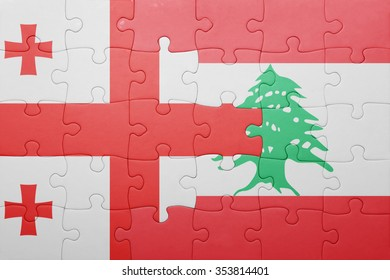 puzzle with the national flag of georgia and lebanon . concept