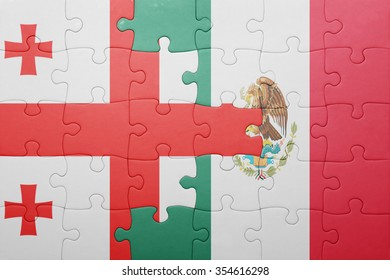 puzzle with the national flag of georgia and mexico . concept