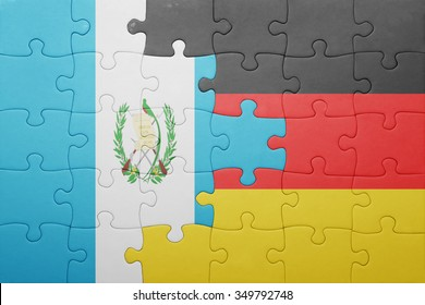 puzzle with the national flag of germany and guatemala. concept
