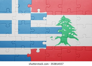 puzzle with the national flag of greece and lebanon . concept