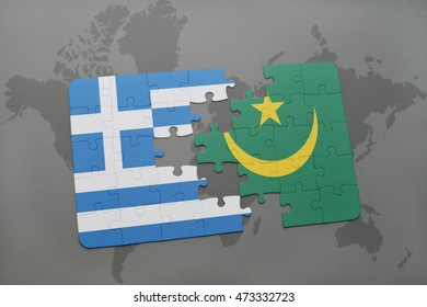 puzzle with the national flag of greece and mauritania on a world map background. 3D illustration
