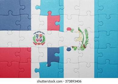 puzzle with the national flag of guatemala and dominican republic .concept