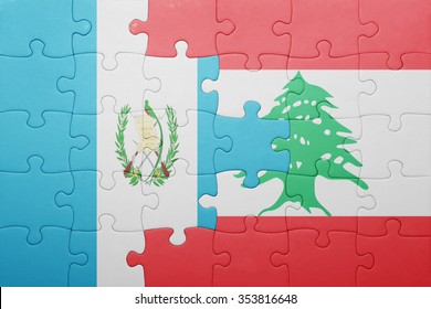 puzzle with the national flag of guatemala and lebanon . concept