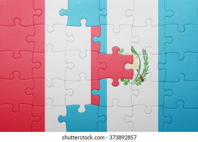 puzzle with the national flag of guatemala and peru .concept