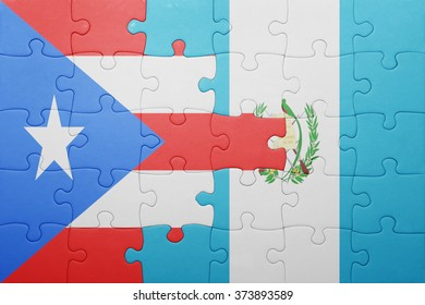 puzzle with the national flag of guatemala and puerto rico .concept