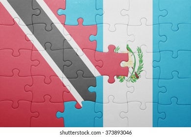 puzzle with the national flag of guatemala and trinidad and tobago .concept