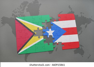 puzzle with the national flag of guyana and puerto rico on a world map background. 3D illustration