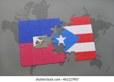 puzzle with the national flag of haiti and puerto rico on a world map background. 3D illustration