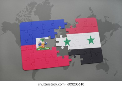 puzzle with the national flag of haiti and syria on a world map background. 3D illustration