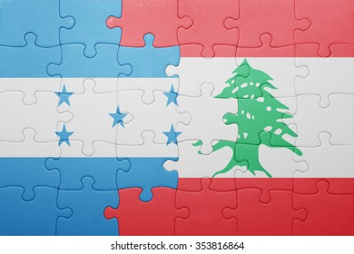 puzzle with the national flag of honduras and lebanon . concept