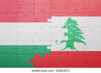 puzzle with the national flag of hungary and lebanon . concept