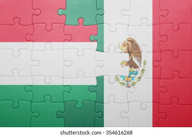 puzzle with the national flag of hungary and mexico . concept