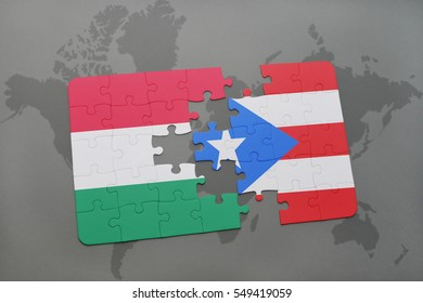 puzzle with the national flag of hungary and puerto rico on a world map background. 3D illustration