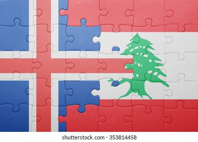 puzzle with the national flag of iceland and lebanon . concept