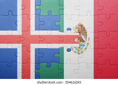 puzzle with the national flag of iceland and mexico . concept