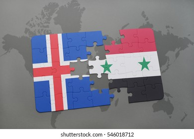 puzzle with the national flag of iceland and syria on a world map background. 3D illustration