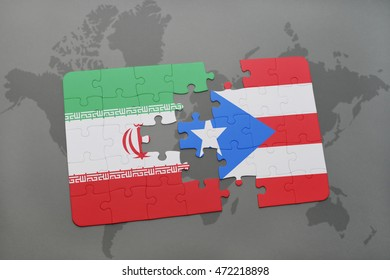 puzzle with the national flag of iran and puerto rico on a world map background. 3D illustration