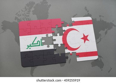 puzzle with the national flag of iraq and northern cyprus on a world map background. 3D illustration