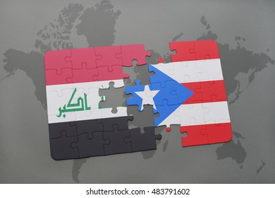 puzzle with the national flag of iraq and puerto rico on a world map background. 3D illustration