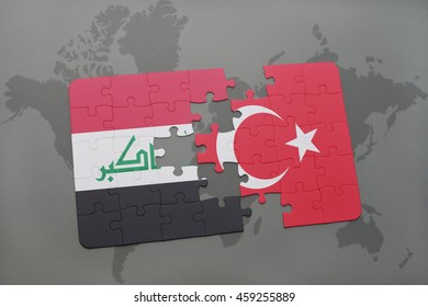 puzzle with the national flag of iraq and turkey on a world map background. 3D illustration