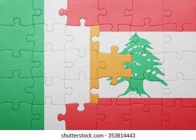 puzzle with the national flag of ireland and lebanon . concept