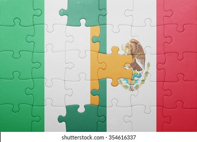 puzzle with the national flag of ireland and mexico . concept