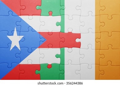 puzzle with the national flag of ireland and puerto rico . concept