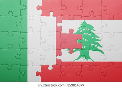 puzzle with the national flag of italy and lebanon . concept